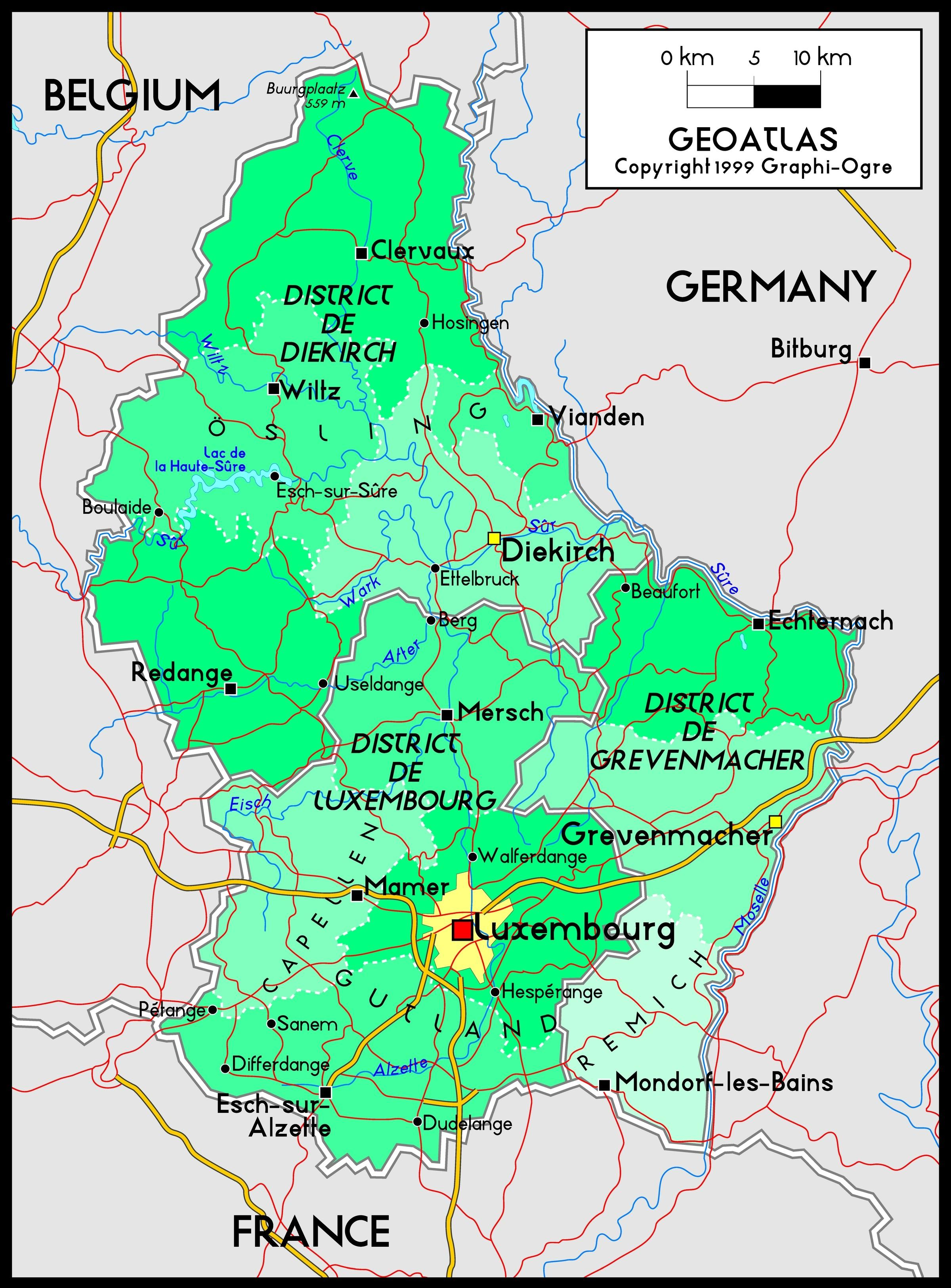 Luxembourg map - Luxembourg map location (Western Europe ...