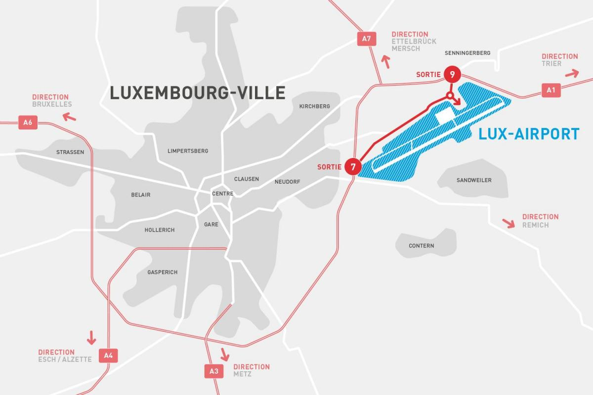 map of Luxembourg airport