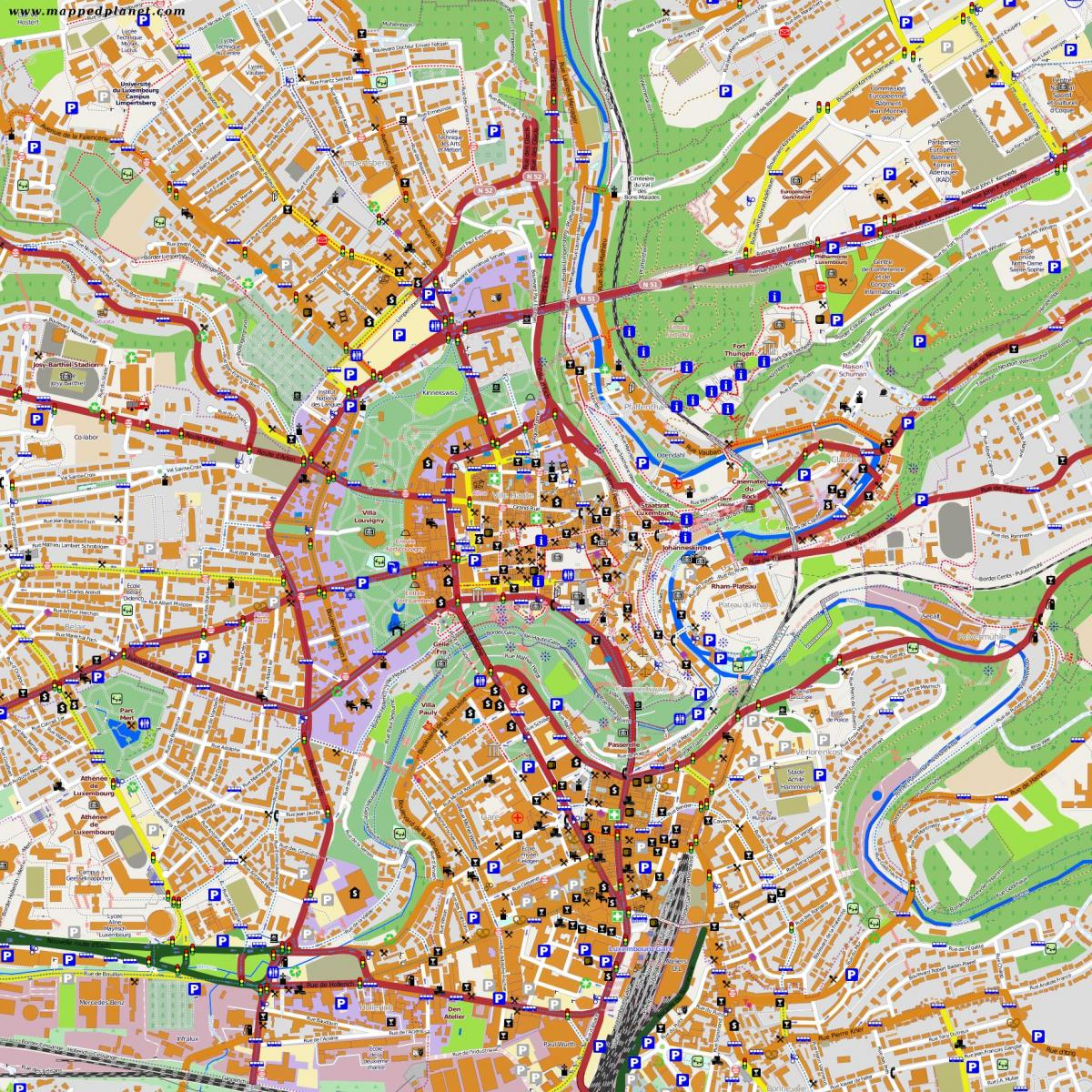 map of Luxembourg city centre