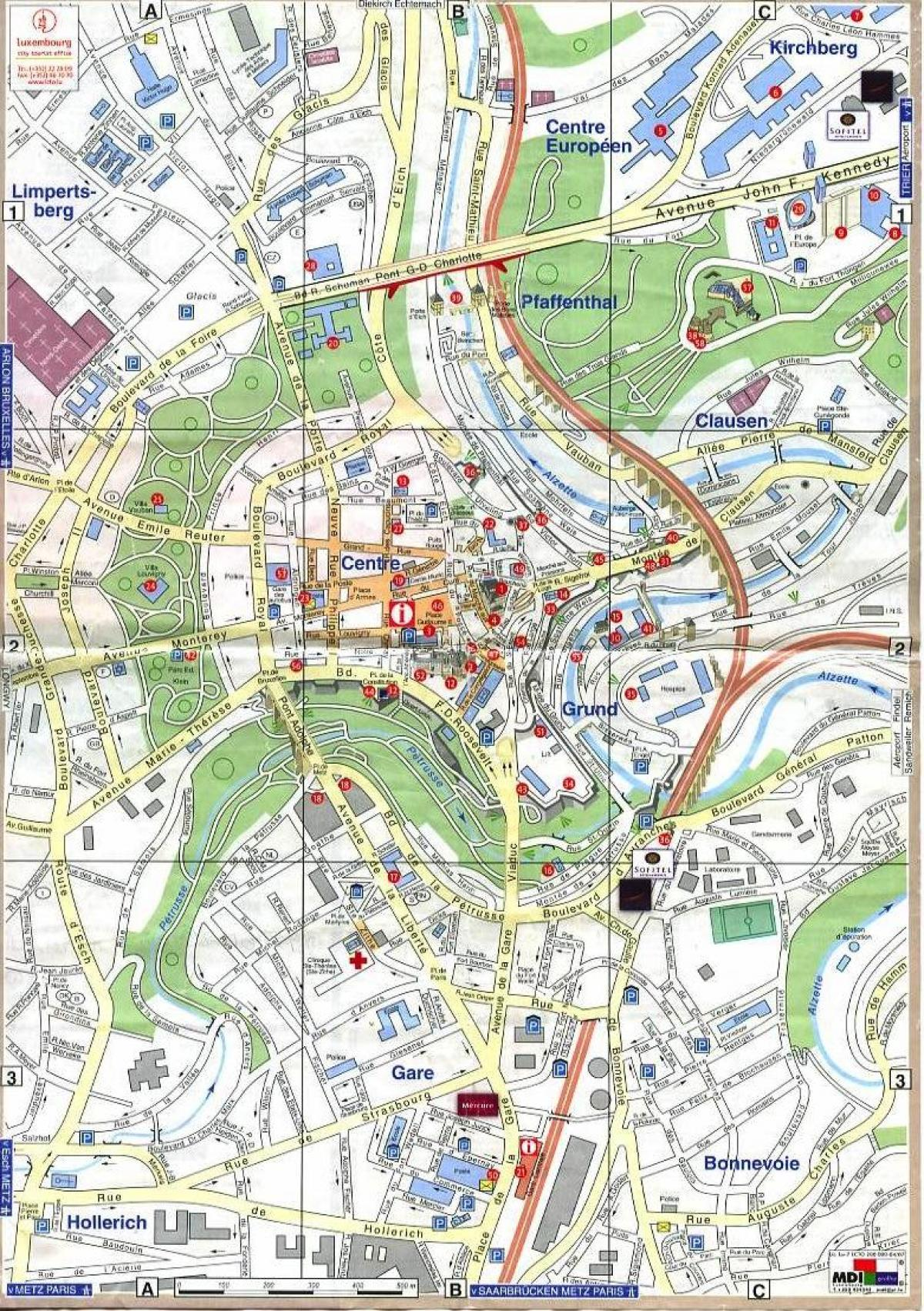 Luxembourg Old Town Map Map Of Luxembourg Old Town Western Europe