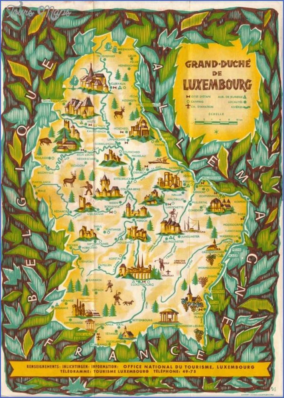 map of Luxembourg sightseeing