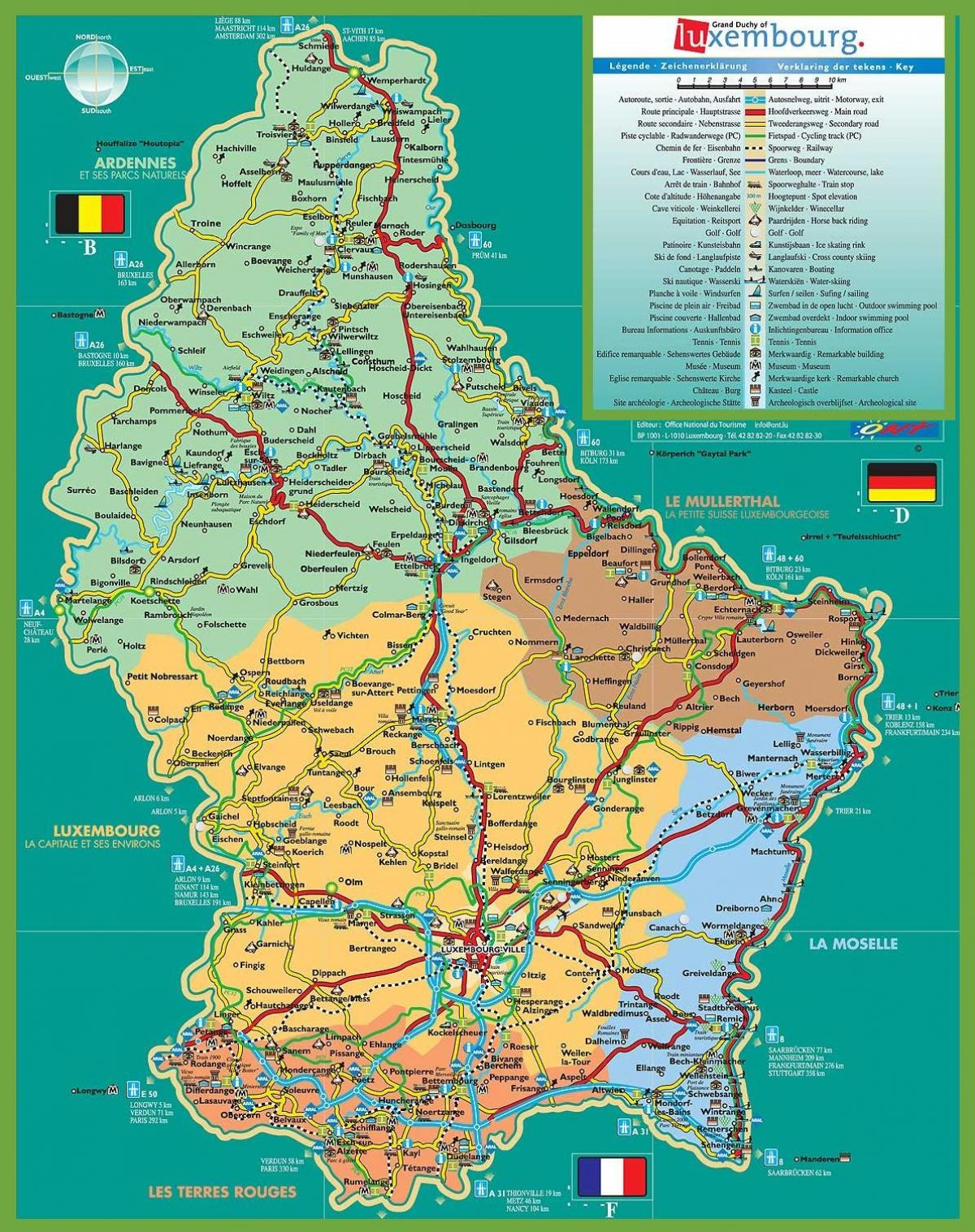 Luxembourg city tourist map