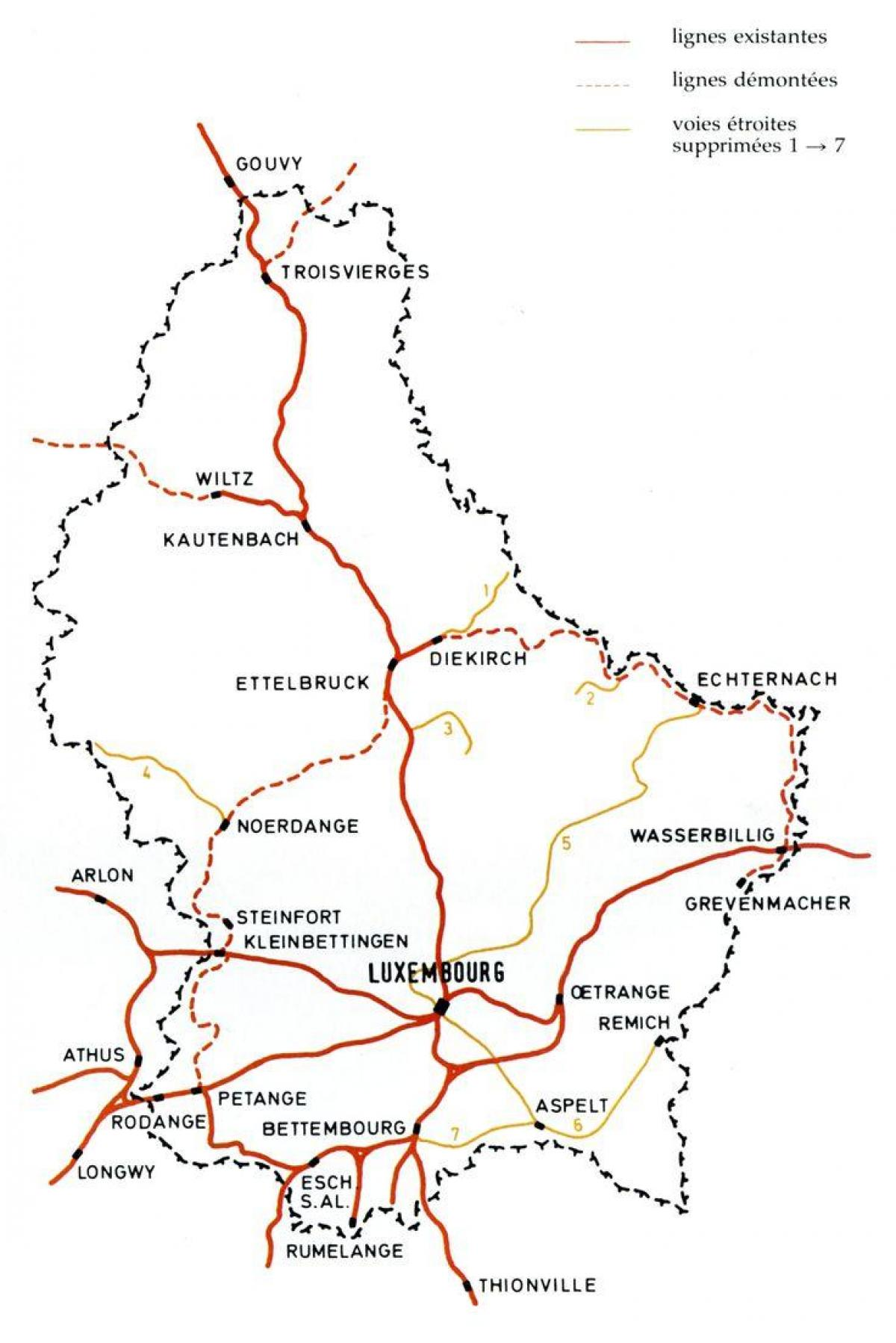 Luxembourg rail map